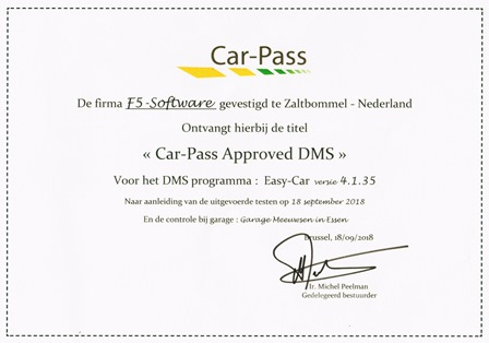 Car Pass Certificaat Approved DMS Klein